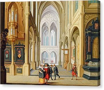Elegant Figures In A Gothic Church Canvas Print by Dirck Van Deelen
