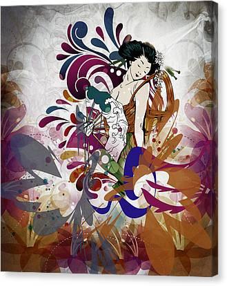 Beautiful Canvas Print - Elegant Geisha Girl by Georgiana Romanovna