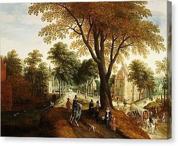Horse And Cart Canvas Print - Elegant Horsemen And Figures On A Path In Front Of A Chateau by Sebastian Vrancx