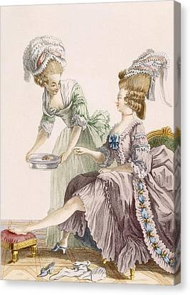 Elegant Lady Having Her Feet Washed Canvas Print by Pierre Thomas Le Clerc
