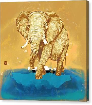 Elehpant Stylised Pop Art Drawing Portrait Poster Canvas Print