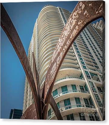 Element Of Duenos Do Los Estrellas Statue With Miami Downtown In Background - Square Crop Canvas Print by Ian Monk