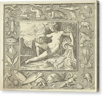 Element Water As Naked Woman Sitting Near A Well With Fish Canvas Print by Nicolaes De Bruyn
