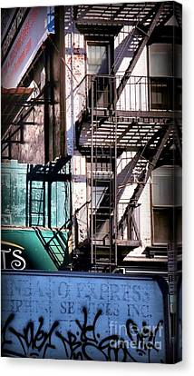 Elemental City - Fire Escape Graffiti Brownstone Canvas Print by Miriam Danar
