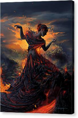 Red Dress Canvas Print - Elements - Fire by Cassiopeia Art
