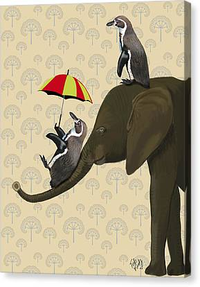 Elephant And Penguins Canvas Print by Kelly McLaughlan