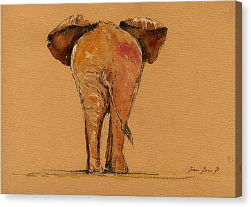 Elephant Back Canvas Print by Juan  Bosco