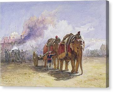 Elephant Battery, 1864 Wc Over Graphite With Bodycolour On Paper Canvas Print