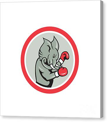 Elephant Boxer Boxing Circle Cartoon Canvas Print by Aloysius Patrimonio