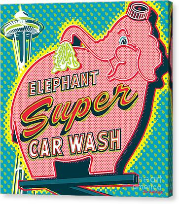 Elephant Car Wash And Space Needle - Seattle Canvas Print by Jim Zahniser