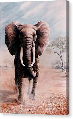 Canvas Print featuring the painting Elephant Charge by DiDi Higginbotham