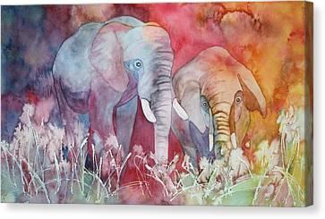 Elephant Duo Canvas Print by Nancy Jolley