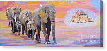 Elephant Fantasy Must Open Canvas Print by Phyllis Kaltenbach