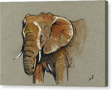 African Drawings Canvas Print - Elephant Head African by Juan  Bosco