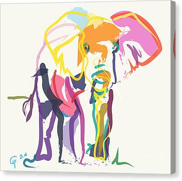 Elephant In Color Ecru Canvas Print by Go Van Kampen