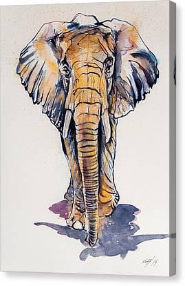 Elephant In Gold Canvas Print by Kovacs Anna Brigitta
