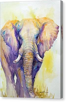 Elephant In Purple Canvas Print