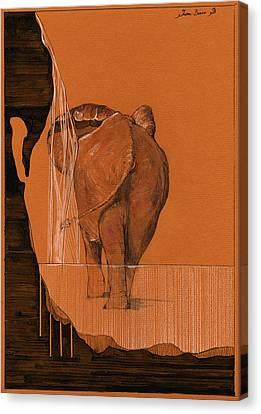 Elephant In River Canvas Print by Juan  Bosco