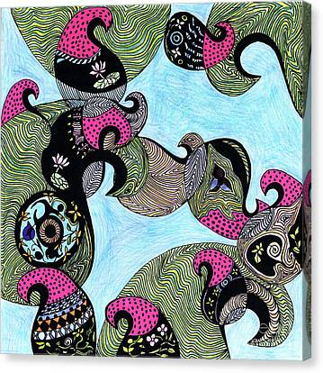 Elephant Lotus And Bird Design Canvas Print by Mukta Gupta