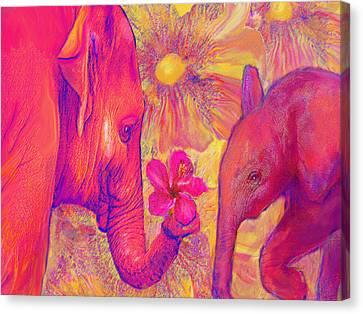 Elephant Love Canvas Print by Jane Schnetlage