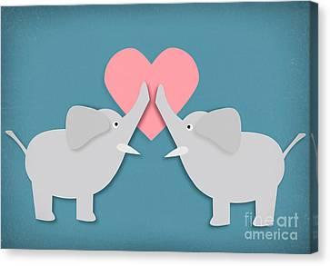 Elephant Love Canvas Print by Sharon Dominick