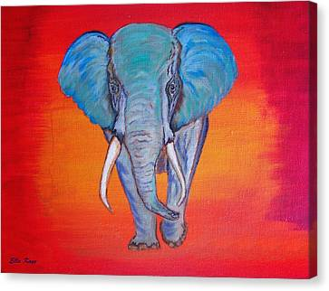 Canvas Print featuring the painting Elephant Matriarch by Ella Kaye Dickey