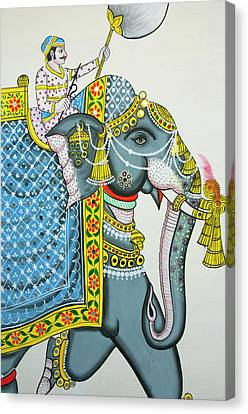 Mural Canvas Print - Elephant Mural, Mahendra Prakash Hotel by Inger Hogstrom