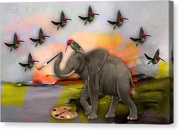 Elephant Creating Birds Canvas Print by Marvin Blaine