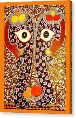 Elephant Pair-madhubani Paintings Canvas Print