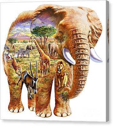 Elephant Puzzle Canvas Print by Adrian Chesterman