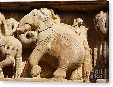 Elephant Sculpture At Khajuraho Canvas Print