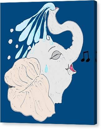 Toon Canvas Print - Elephant Shower by Pharris Art