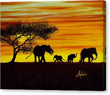 Elephant Silhouette Canvas Print by Adele Moscaritolo