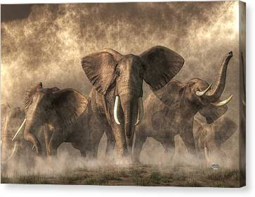 Frightening Canvas Print - Elephant Stampede by Daniel Eskridge