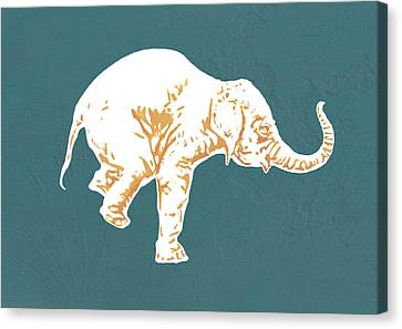 Elephant - Stylised Drawing Art Poster Canvas Print by Kim Wang