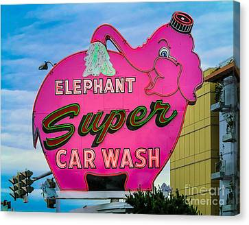 Elephant Super Car Wash Canvas Print