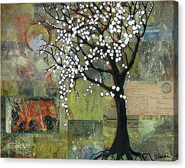 Elephant Under A Tree Canvas Print by Blenda Studio