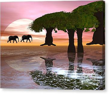 Elephant Walk Canvas Print by Jacqueline Lloyd