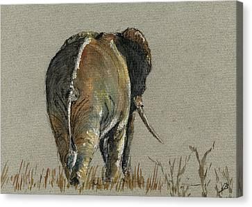 Elephant Walking Canvas Print by Juan  Bosco