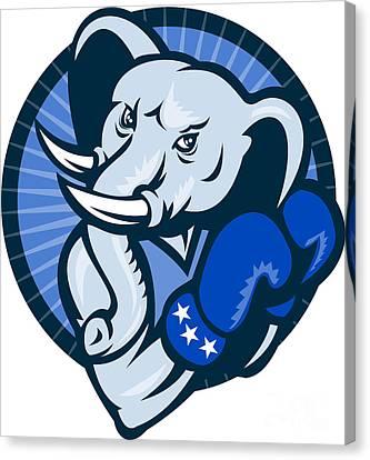 Elephant With Boxing Gloves Democrat Mascot Canvas Print by Aloysius Patrimonio