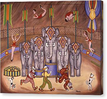 Elephants And Acrobats Canvas Print by Linda Mears