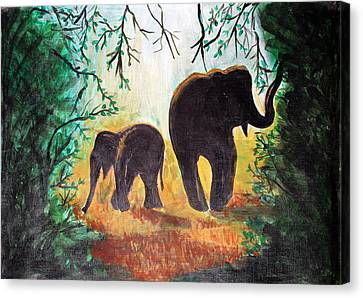 Canvas Print featuring the painting Elephants At Night by Saranya Haridasan