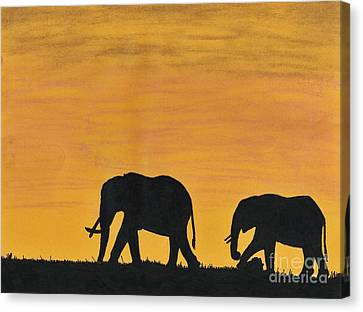 Elephants - At - Sunset Canvas Print by D Hackett