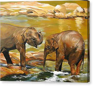 Elephants- Different Dimensions Canvas Print by Cathy Jacobs