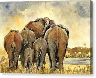 Juans Canvas Print - Elephants Herd by Juan  Bosco