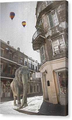 Elephants In The City Canvas Print by Alicia Morales