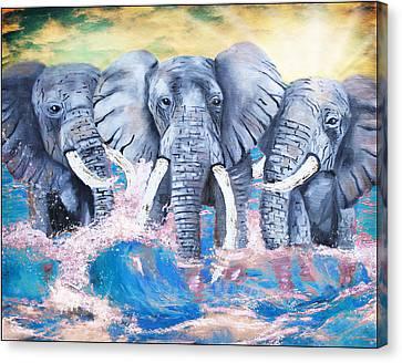 Elephants In The Tide Canvas Print by Tara Richelle