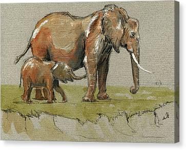 Elephants Canvas Print by Juan  Bosco