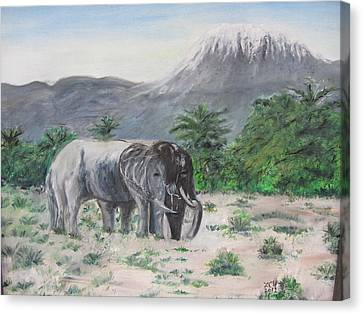 Elephants Strolling With View Of Mt. Kilimanjaro  Canvas Print