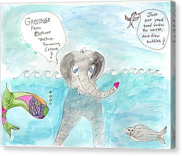 Canvas Print featuring the painting Elephoot Swim Lesson by Helen Holden-Gladsky